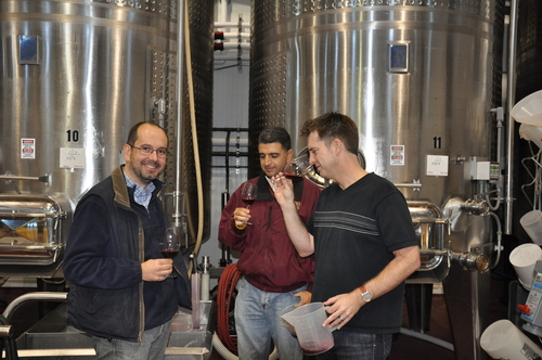 Louis, Denis and David Tasting the Tanks